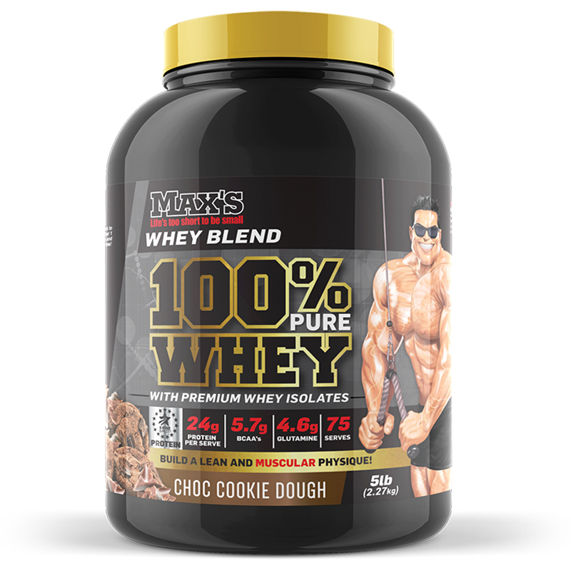 Max's 100% Pure Whey Protein Powder 5lb [Chocolate Chip Cookie]