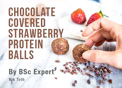 Chocolate Covered Strawberry Protein Balls